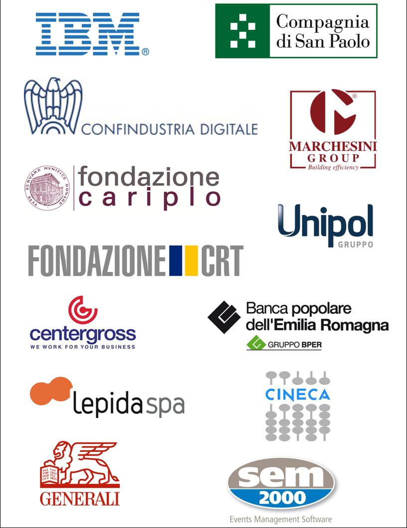 loghi di IBM, Compagnia San Paolo, Confindustria digitale, Fondazione Cariplo, Fondazione CRT, Unipol, Marchesini, BPER, Centergross, Lepida, Cineca, Generali, SEM